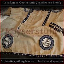 Load image into Gallery viewer, Authentic clothing - Handwoven, hand-stitched late-Roman Tunic (linen, blue pattern)