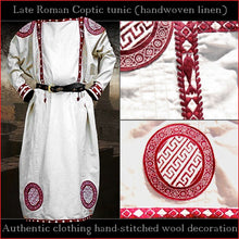 Load image into Gallery viewer, Authentic clothing - Handwoven, hand-stitched Late-Roman Tunic (linen, red pattern)