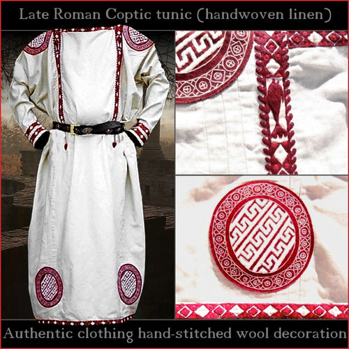 Authentic clothing - Handwoven, hand-stitched Late-Roman Tunic (linen, red pattern)