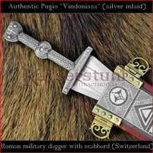 "Load image into Gallery viewer, Authentic replica - Pugio ""Vindonissa"" (real silver inlaid Roman dagger)"