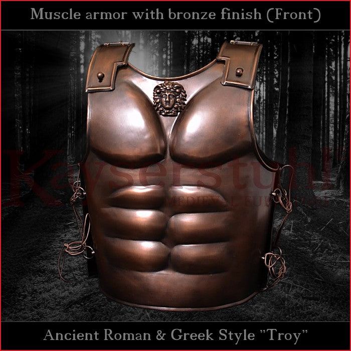 Troy style muscle armor with bronze finish