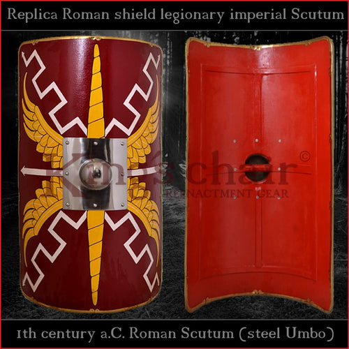 Authentic replica - Scutum with steel Umbo (Roman shield)