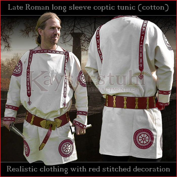 Realistic clothing - Late-Roman Coptic long sleeve tunic (Cotton, red pattern)