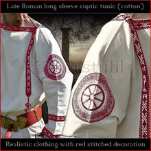 Load image into Gallery viewer, Realistic clothing - Late-Roman Coptic long sleeve tunic (Cotton, red pattern)