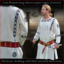 Load image into Gallery viewer, Realistic clothing - Late-Roman Coptic long sleeve tunic (Cotton, blue pattern)