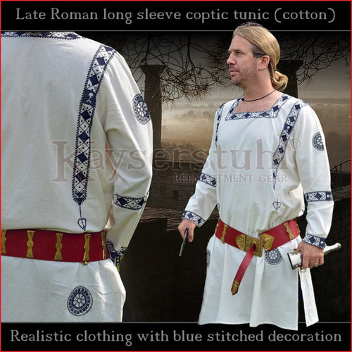 Realistic clothing - Late-Roman Coptic long sleeve tunic (Cotton, blue pattern)
