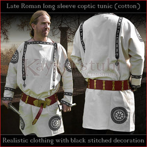 Realistic clothing - Late-Roman Coptic long sleeve tunic (Cotton, black pattern)