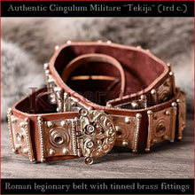 "Load image into Gallery viewer, Authentic Replica - Roman Cingulum Militare ""Tekija"" (leather, tinned brass)"