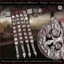 "Load image into Gallery viewer, Authentic Replica - Cingulum Militare ""Tekija"" with apron (leather, tinned brass)"