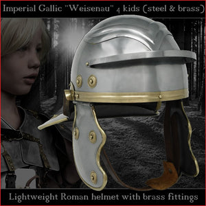 "Lightweight Galea helmet for kids ""Imperial Gallic"" (steel & brass)"