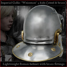 "Load image into Gallery viewer, Lightweight Galea helmet for kids ""Imperial Gallic"" (steel & brass)"