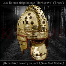 "Load image into Gallery viewer, Authentic replica - Late roman ridge helmet ""Berkasovo"" (brass & glass)"