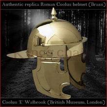 "Load image into Gallery viewer, Authentic replica ""Coolus 'E' Walbrook"" helmet (brass)"