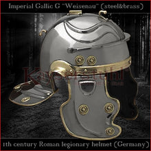 "Load image into Gallery viewer, Authentic replica - Imperial Gallic G ""Weisenau"" helmet (steel & brass)"