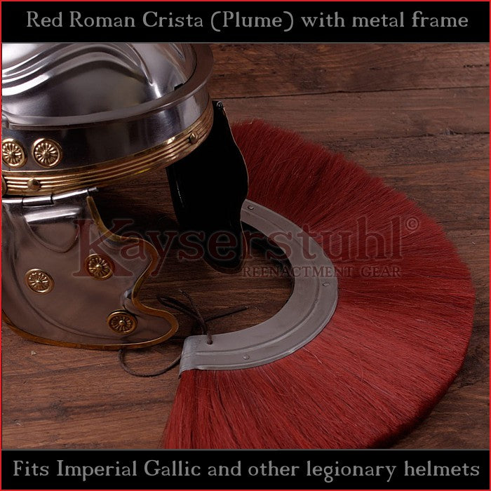Authentic Replica - Red Roman Crista (Plume) with metal frame