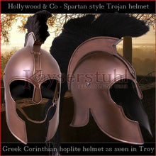 "Load image into Gallery viewer, Movies, LARP & Theatres - Corinthian helmet ""Troy"" with plume (steel with bronze finish)"