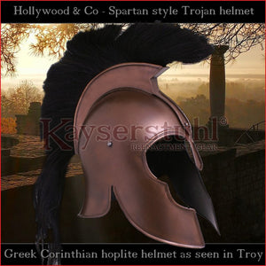 "Movies, LARP & Theatres - Corinthian helmet ""Troy"" with plume (steel with bronze finish)"