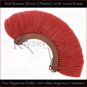 Authentic Replica - Red Roman Crista (Plume) with wood frame