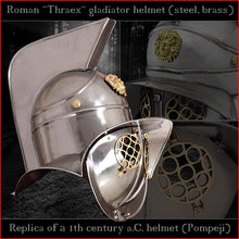 Load image into Gallery viewer, Authentic replica - Deepeeka Thraex helmet (steel & brass)