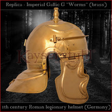 "Load image into Gallery viewer, Authentic replica - Imperial Gallic G ""Worms"" helmet (brass)"