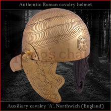 "Load image into Gallery viewer, Authentic replica - ""Auxiliary cavalry A"" helmet (brass)"
