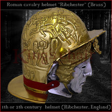 "Load image into Gallery viewer, Authentic replica ""Ribchester"" roman cavalry helmet (brass)"