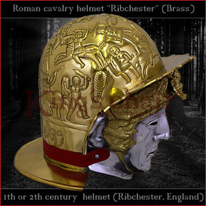 "Authentic replica ""Ribchester"" roman cavalry helmet (brass)"