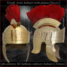 "Load image into Gallery viewer, Authentic Replica - Greek ""Attic"" helmet with plume (brass)"