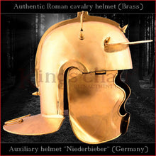"Load image into Gallery viewer, Authentic replica ""Niederbieber"" auxiliary infantery helmet (brass)"