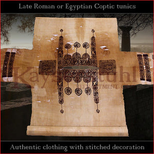 Realistic clothing - Late-Roman Coptic short sleeve tunic (Cotton, black pattern)