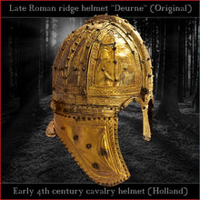 "Load image into Gallery viewer, Authentic replica ""Deurne"" late roman ridge helmet (brass)"