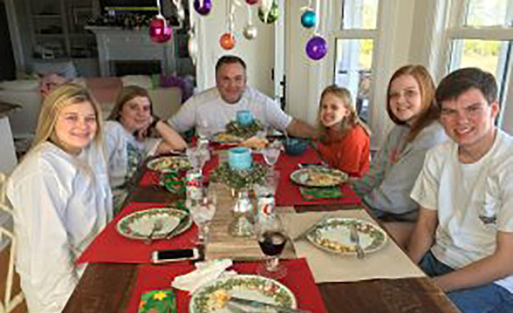 The family after enjoying Pork tenderloin Christmas Dinner prepared by Melvin's daughter in law, Debbie Bessinger