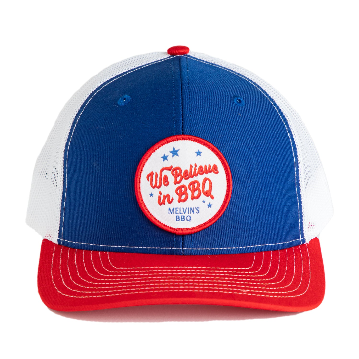 Melvin's Red White & Blue We Believe Richardson Patch Hat