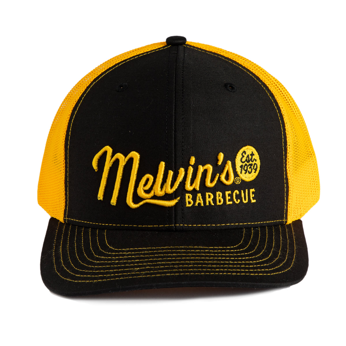 melvin's gold/black richardson stitch hat