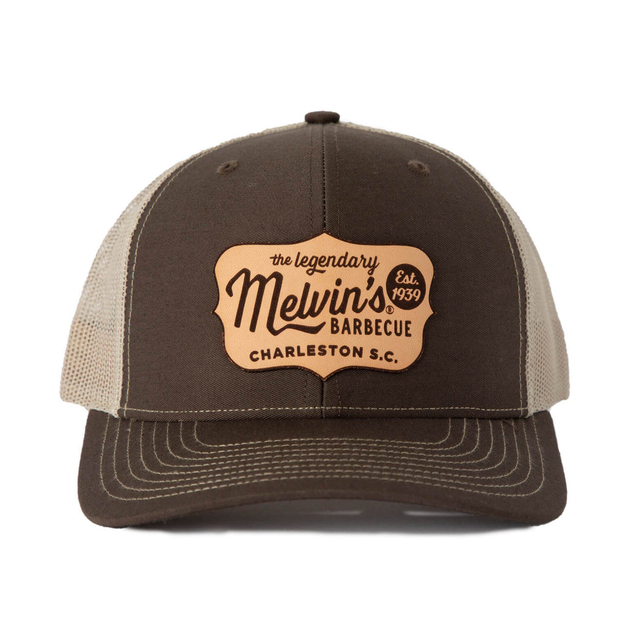 melvin's brown richardson leather patch hat