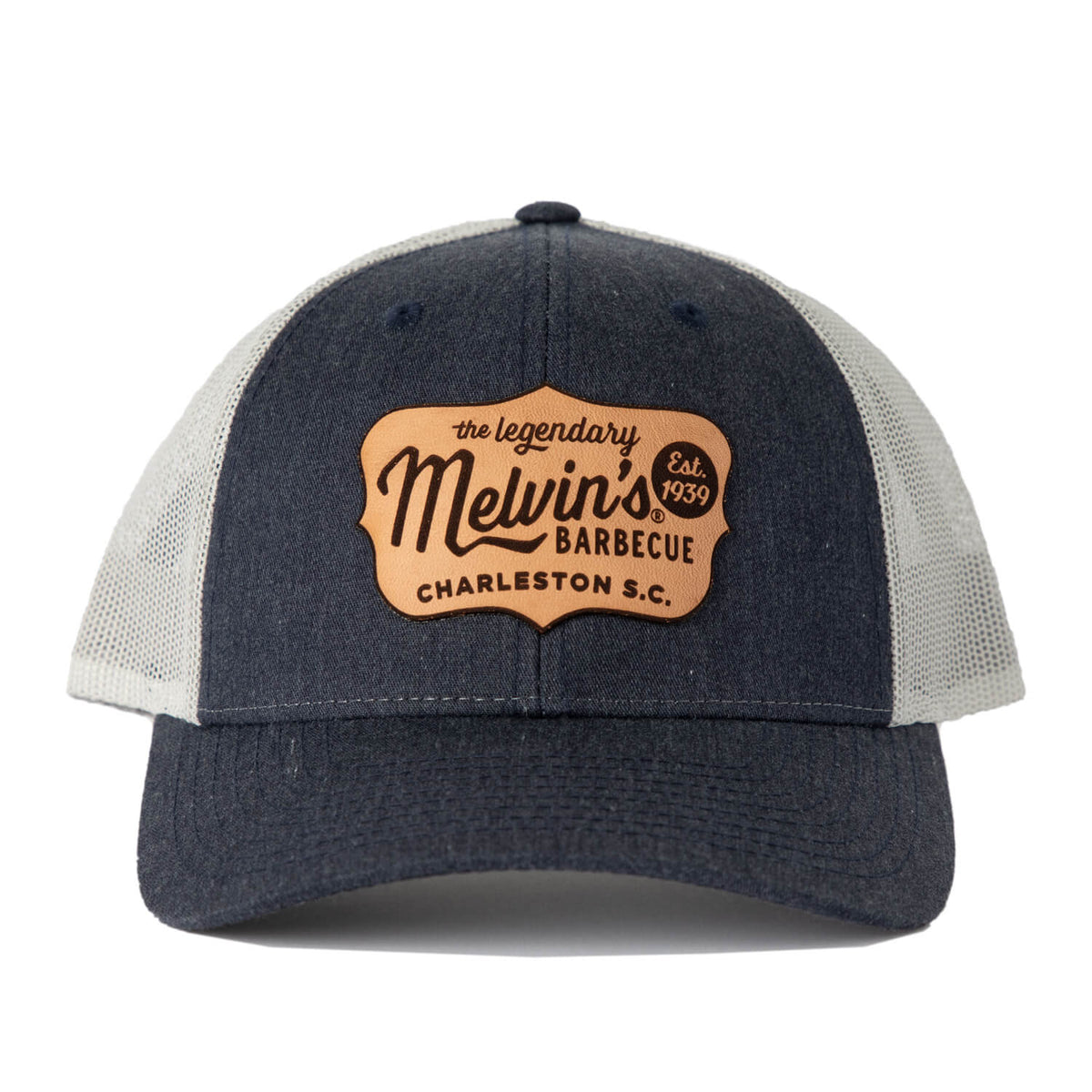 melvin's blue jean richardson leather patch hat