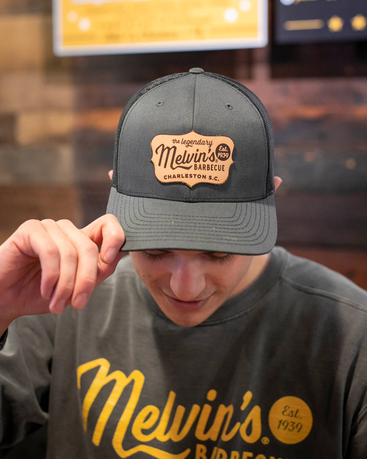 Melvin's Charcoal Richardson Leather Patch Hat