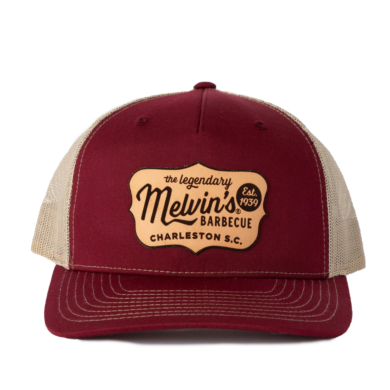 Melvin's Maroon Richardson Leather Patch Hat
