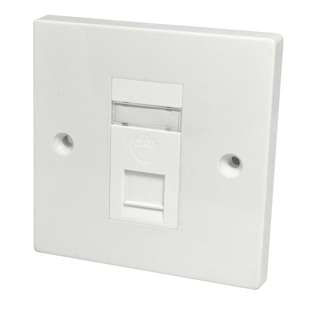 Single RJ45 Outlet with White Faceplate front