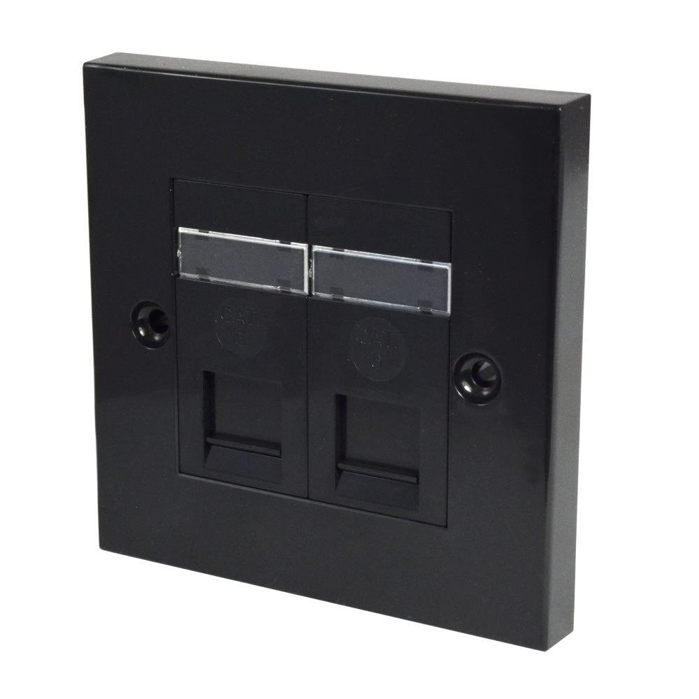 Twin RJ45 Outlet with Black Faceplate front