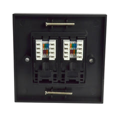 Twin RJ45 Outlet with Black Faceplate rear