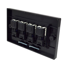 Quad RJ45 Outlet with Black Faceplate rear with covers