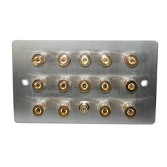 7.1 speaker plate in steel with gold posts main