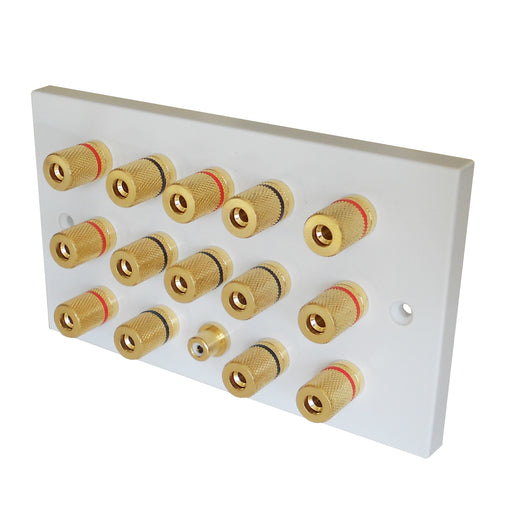 7.1 surround speaker plate gold posts white front