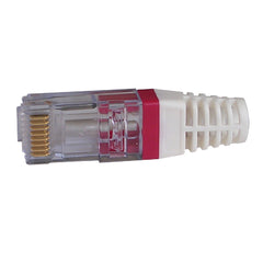 EZ-RJ45 CAT6 Strain Relief Red 100030R-10 with connector