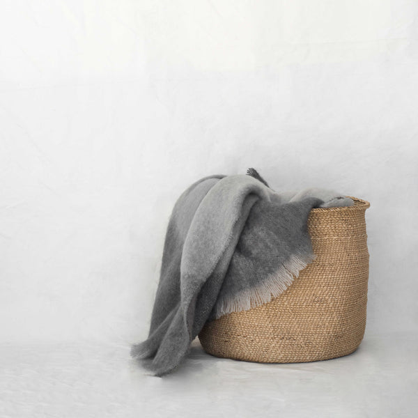 MOHAIR THROW - PEBBLE