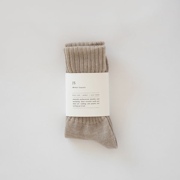 HEAVY KNIT MOHAIR SOCKS - LIGHT FAWN