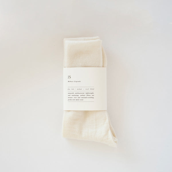 FINE KNIT MOHAIR SOCKS - NATURAL