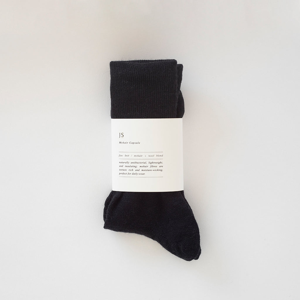 FINE KNIT MOHAIR SOCKS - BLACK