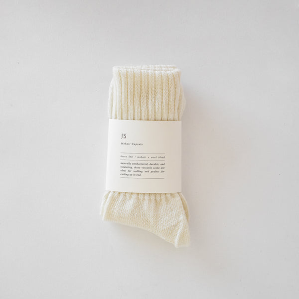 HEAVY KNIT MOHAIR SOCKS - NATURAL